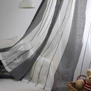 Gray Linen Tulle Curtains for Bedroom