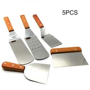 Wooden Handle Stainless Steel Spatula Set