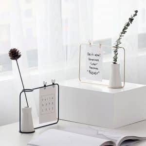 Ceramic Flower Vase With Iron Photo Frame